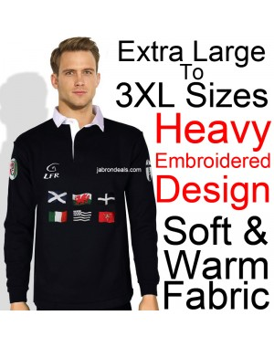 Men Black Rugby Polo Full Sleeve T Shirts