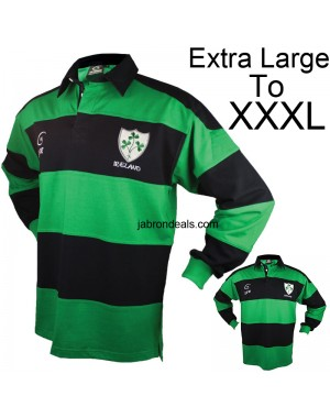 Men Rugby Striped Polo Full Sleeved T Shirts Blue And Green