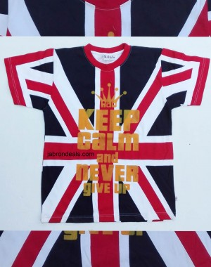 UK flag mens keep calm and never give up half T