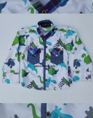 outfitter full printed stand collar kids casual