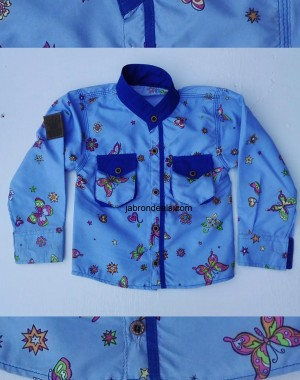 outfitter stand collar full printed kids casual shirt