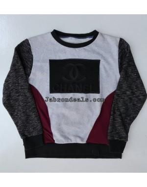 Channel round neck kids sweatshirts