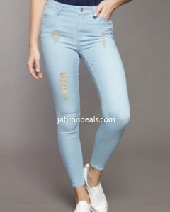 Light Blue Denim 1982 Ladies Rough Stretch Jeans