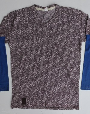 Mens check with doted V neck shirt
